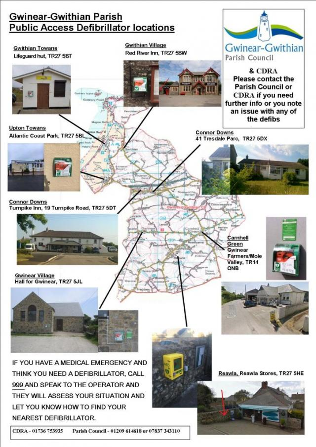 The following map shows the location of all the public access defibrillators across our Parish:-